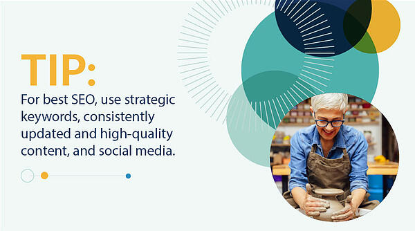 tip for best seo use strategic keywords, consistently updated and high quality content, and social media