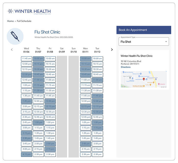 Winter health onine schedule for booking and appointment
