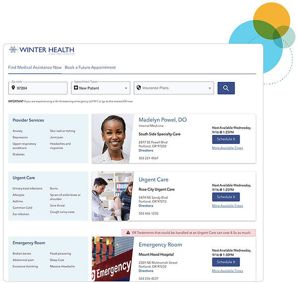 stericycle medical assistance and appointment booking tool as used by winter health