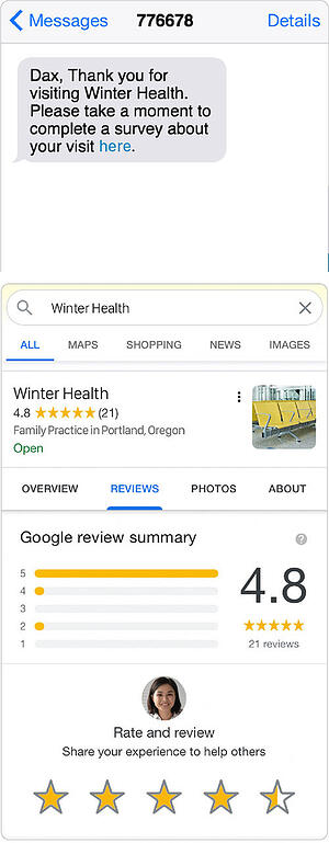 screen shots of a text message asking a patient to complete an survey and another showing on online review of winter health family practice